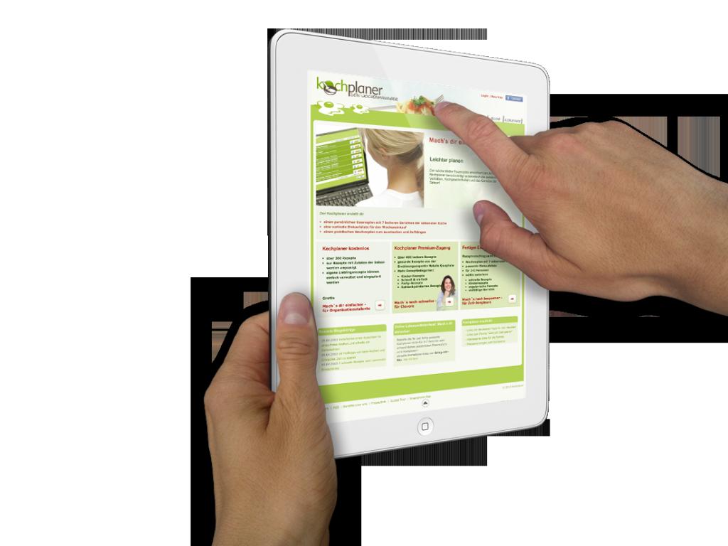 Ipad kochplaner Beispiel Webdesign Layout