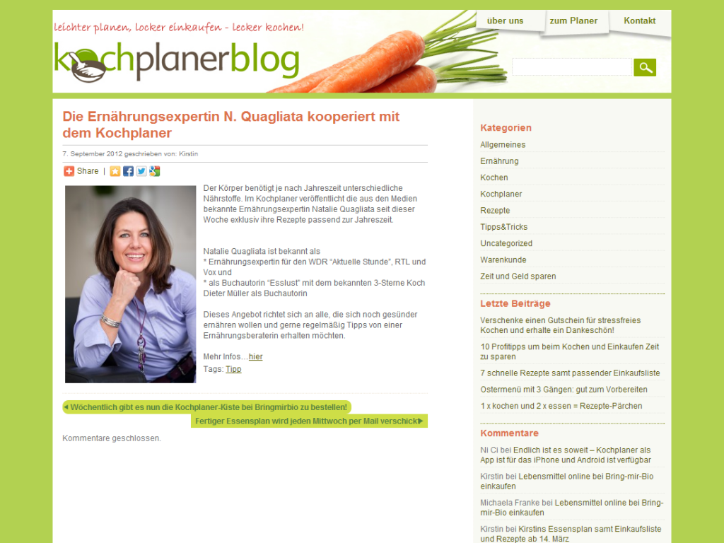 Webdesign WordPress Blog vom Kochplaner Beispiel