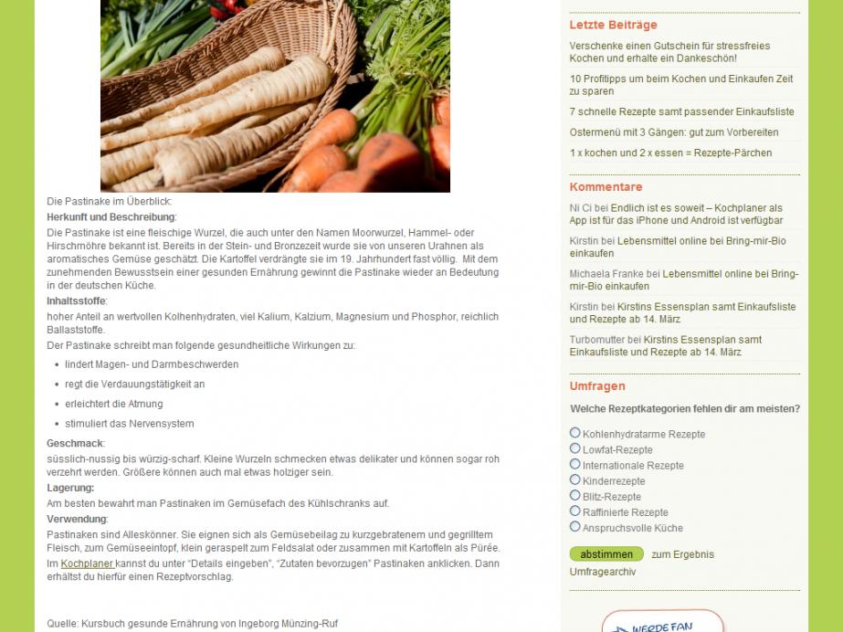 Kochplaner Blog mit WordPress Webdesign Beispiel ganze Seite