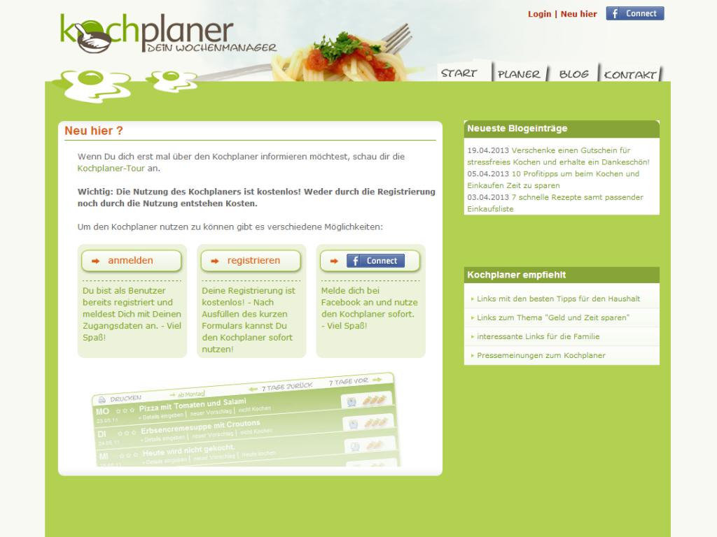 Screenshot des Webdesign von Kochplaner, Beispiel neu hier