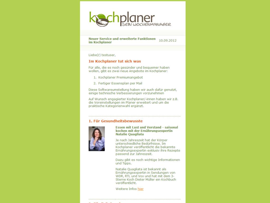 Webdesign Newsletter vom Kochplaner Beispiel
