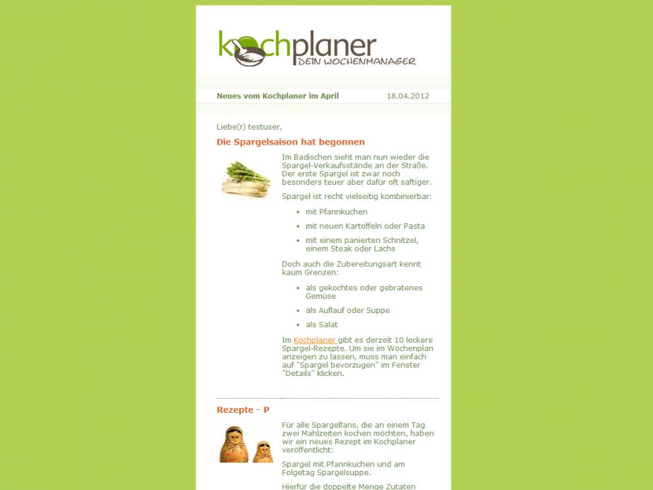 Newsletter Beispiel 2 des Kochplaner Newsletter layouts