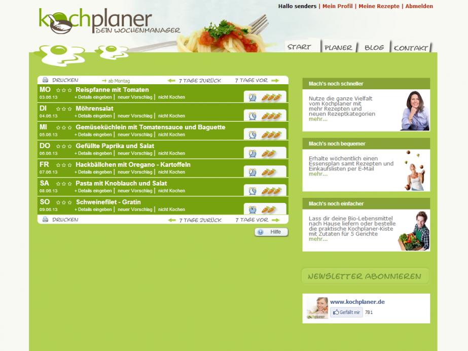 Weblayout des Wochenplans vom Kochplaner