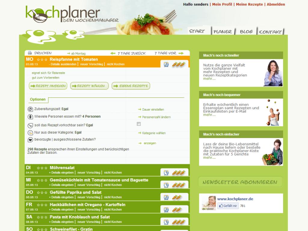 Kochplaner Webdesign Beispiel wochenplaner 2