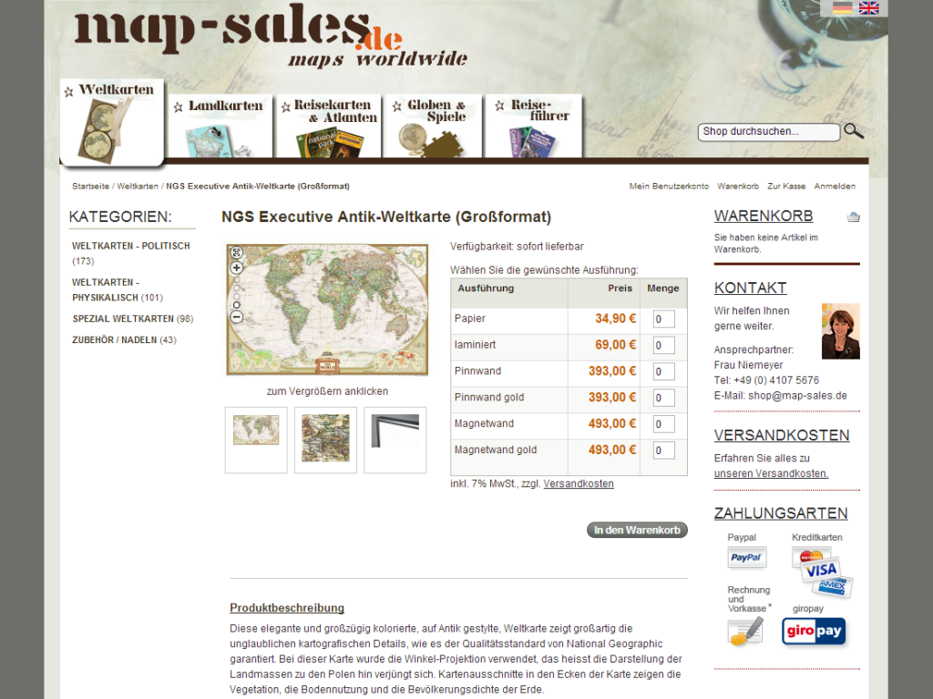 map-sales Shop Produkteinzelansicht