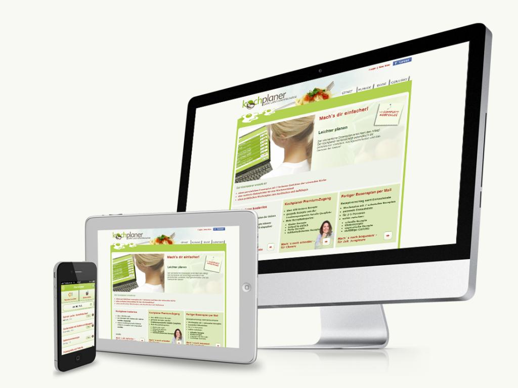 Auf vielen Platformen läuft der Kochplaner, Iphons und Android App, Desktop PCs