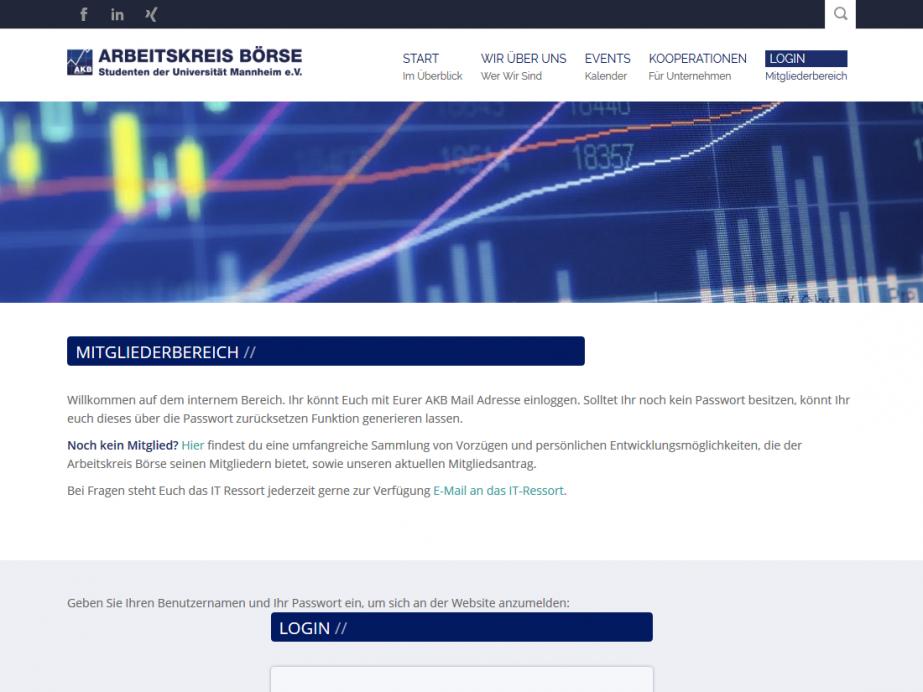 Responsive Internet Auftritt für Arbeitskreis Börse mit TYPO3 CMS – Intranet