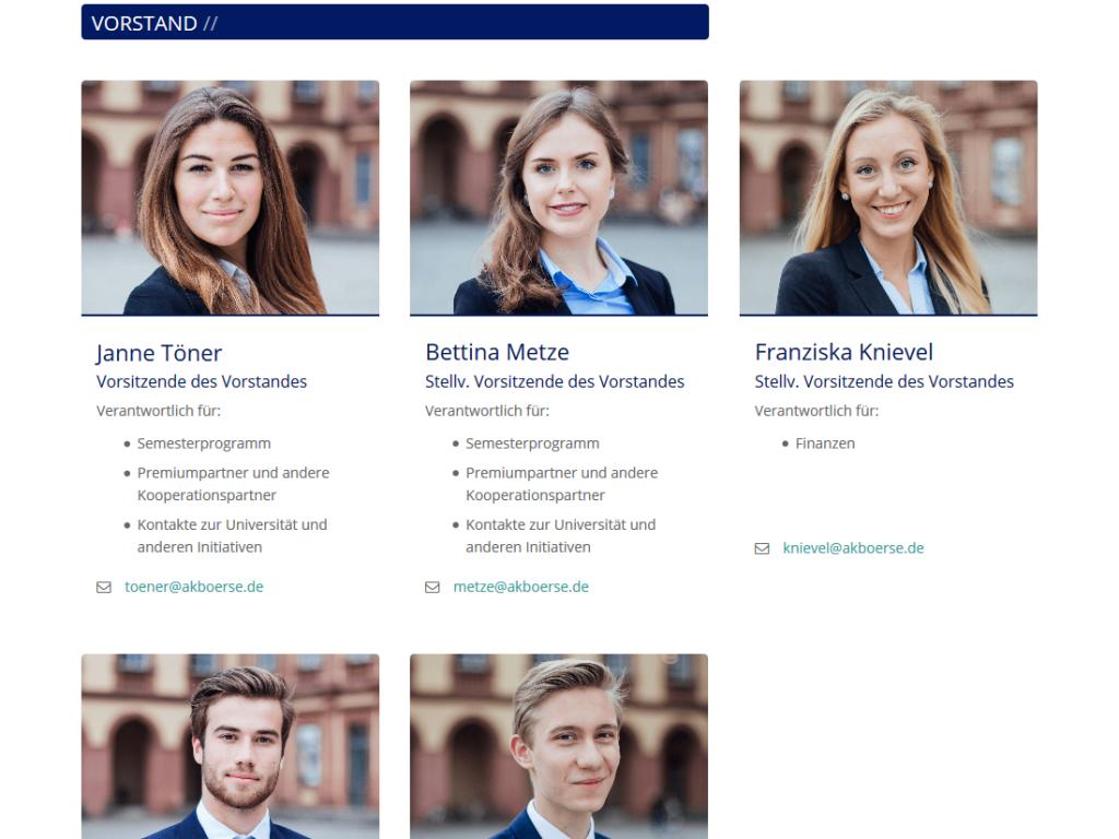 Responsive Internet Auftritt für Arbeitskreis Börse mit TYPO3 CMS – Vorstandsseite