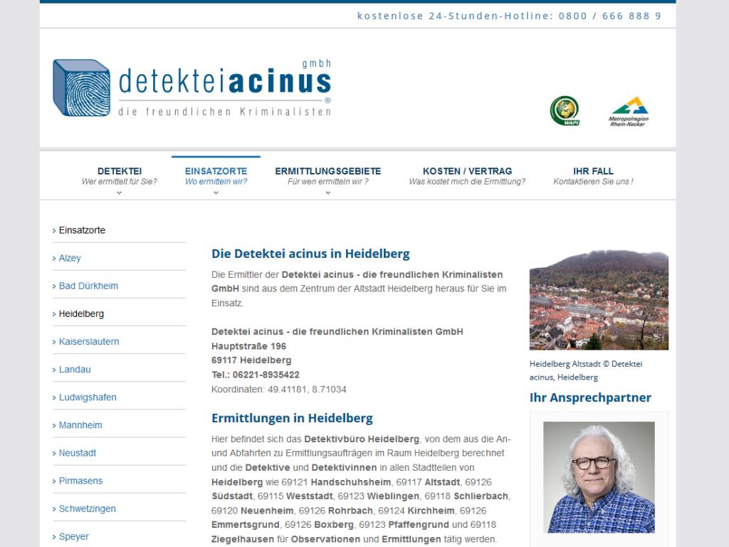 Responsive Internet Auftritt für Detektiv in Heidelberg mit TYPO3 CMS – Einsatzort