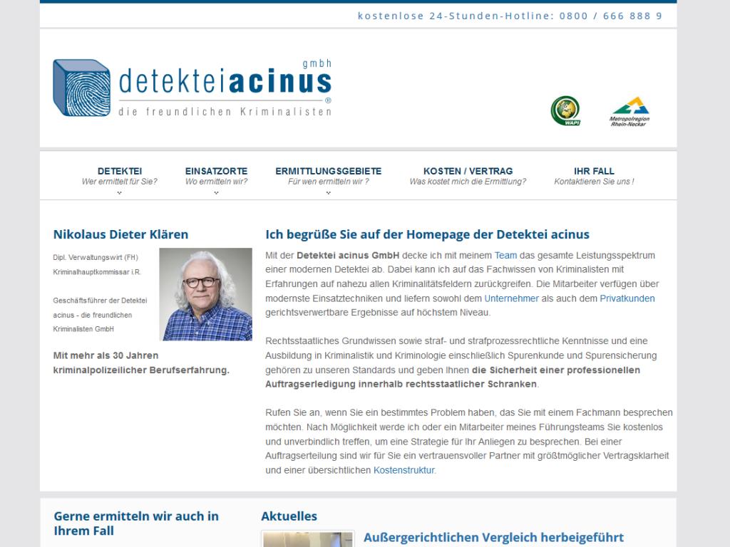 Responsive Internet Auftritt für Detektiv in Heidelberg mit TYPO3 CMS – Startseite