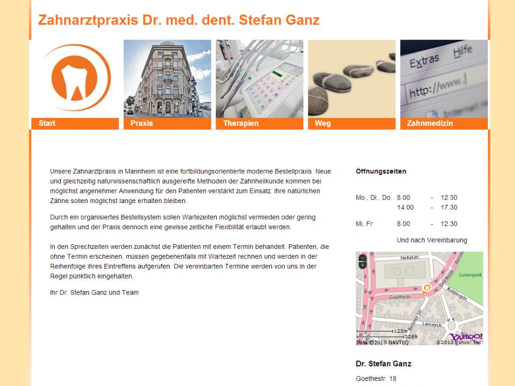 Webdesign der Startseite von der Zahnarztpraxis Dr. Stefan Ganz aus Mannheim