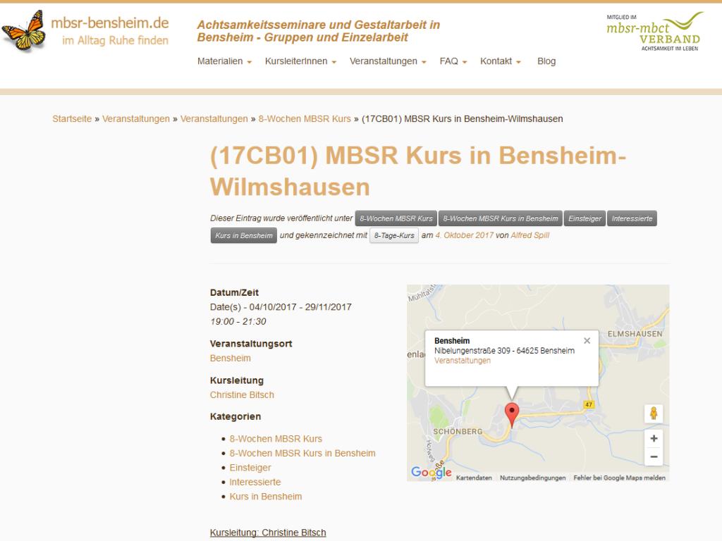Responsive Internet Auftritt MBSR Dr. Spill, Bensheim – Achtsamkeitsseminar