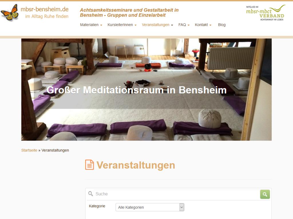 Responsive Internet Auftritt MBSR Dr. Spill, Bensheim – Achtsamkeitsseminare