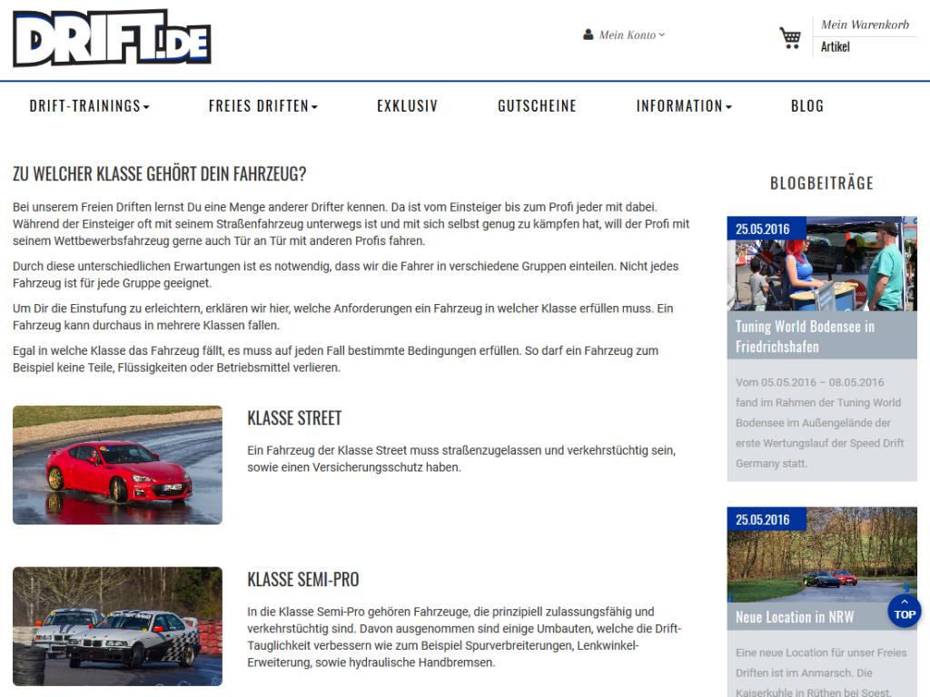 Relaunch Magento E-Shop drift.de, Hockenheim – Drift Fahrzeugklassen