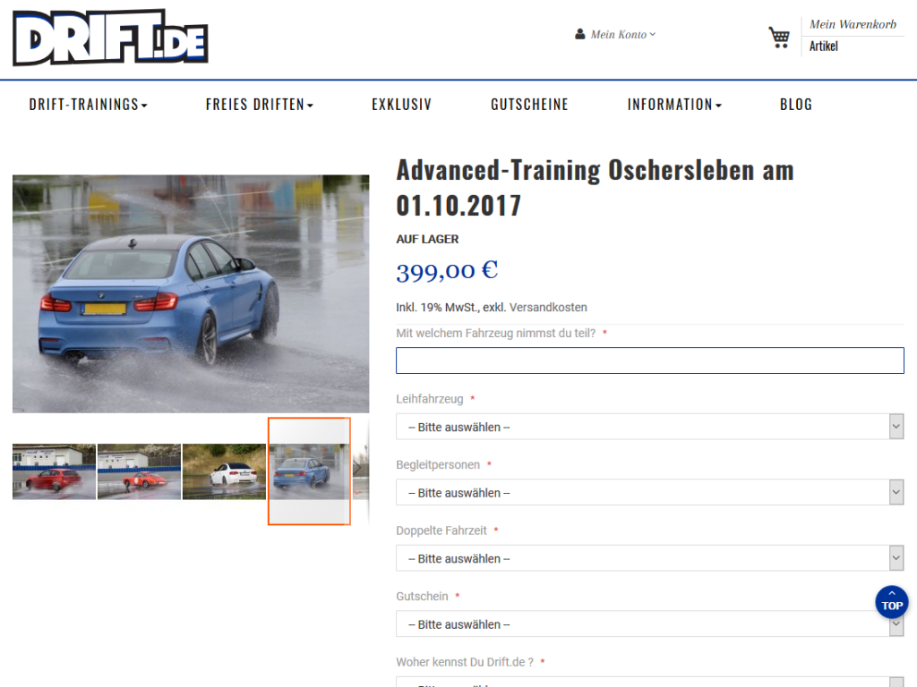 Relaunch Magento E-Shop drift.de, Hockenheim – Drift Training buchen