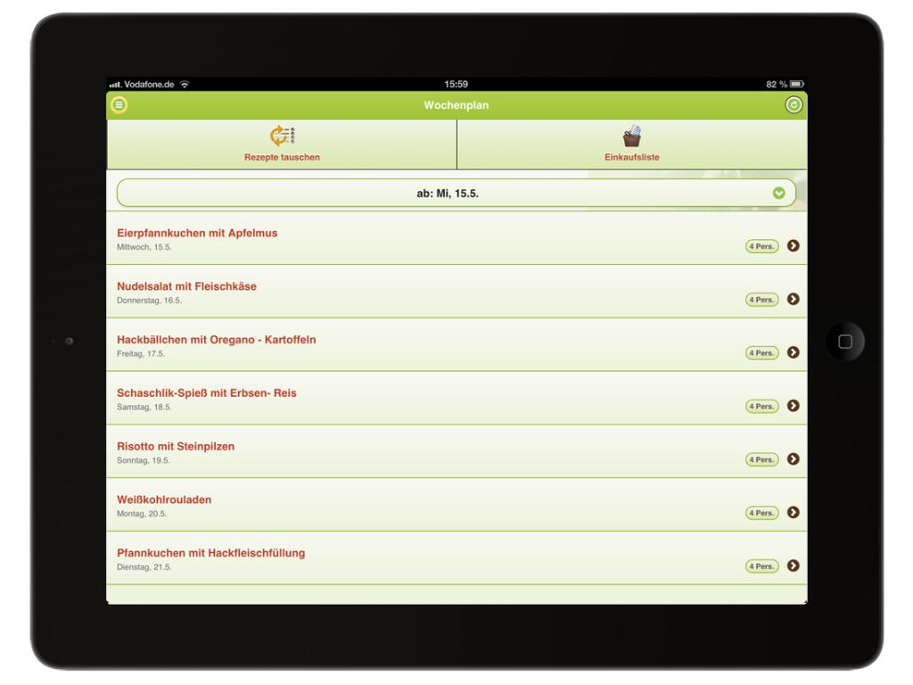 Tablet Webdesign fürs Ipad vom Kochplaner