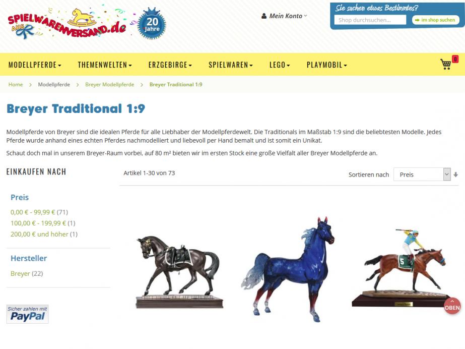 Magento e-Shop spielwarenversand.de, Bensheim – Kategorieseite