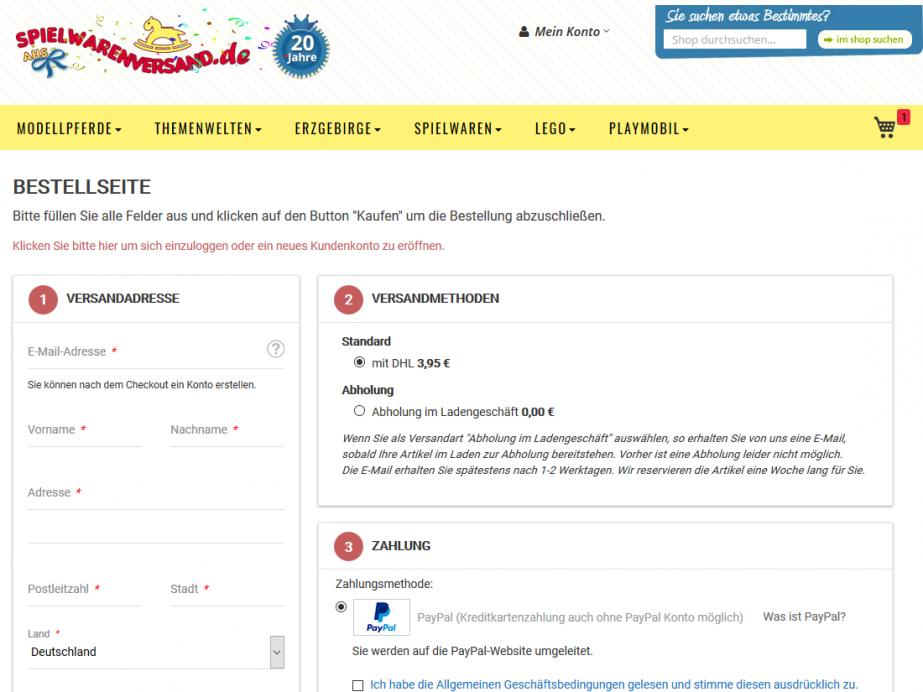 Magento e-Shop spielwarenversand.de, Bensheim – Checkout