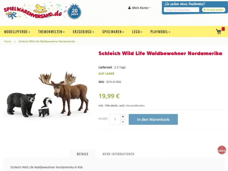 Magento e-Shop spielwarenversand.de, Bensheim – Produktseite