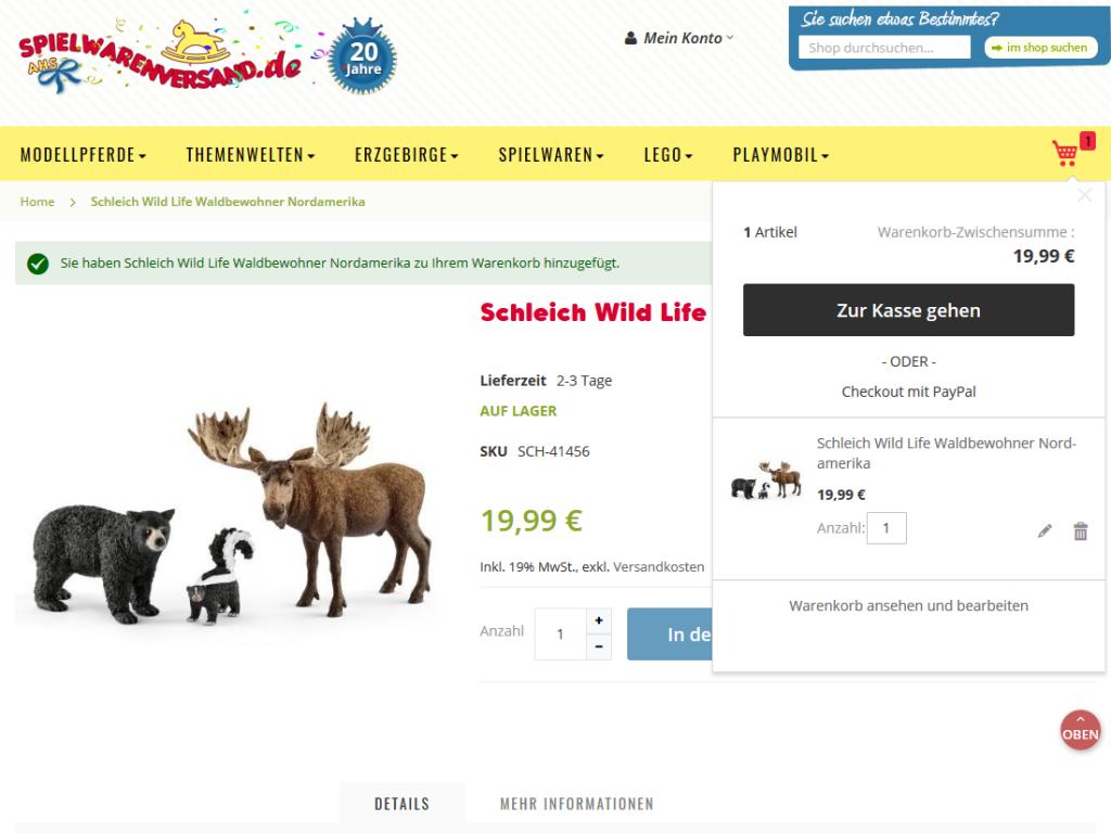 Magento e-Shop spielwarenversand.de, Bensheim – Warenkorb