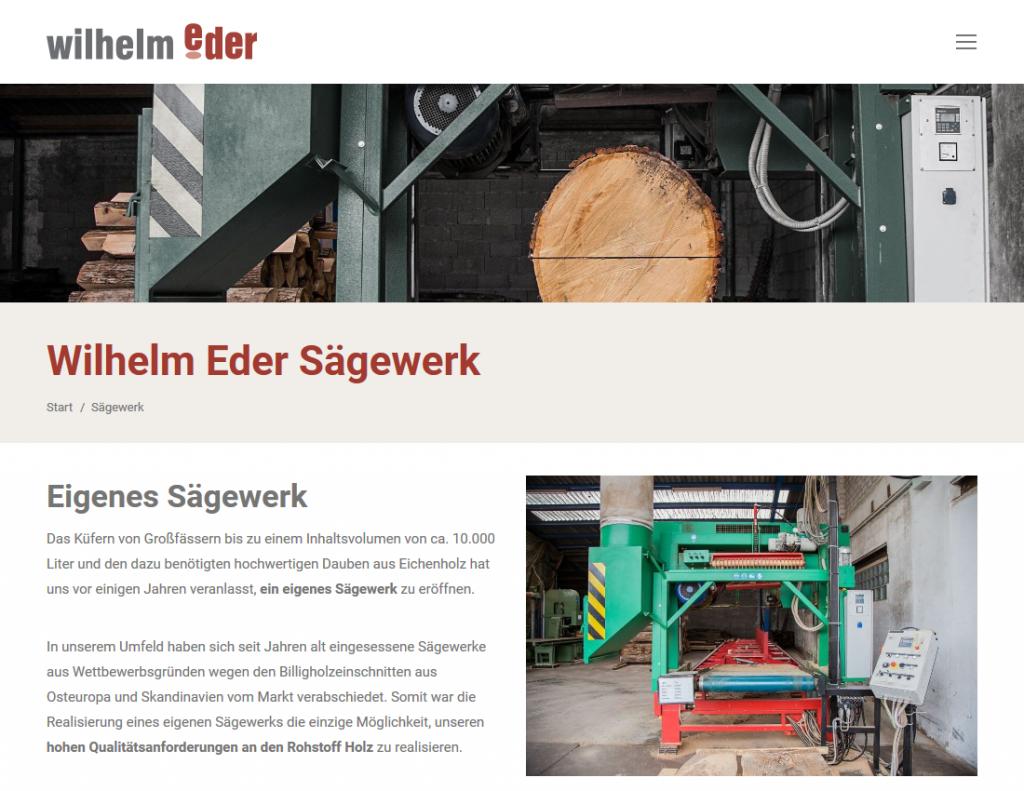 Responsive Internet Auftritt für Wilhelm Eder GmbH – Sägewerk