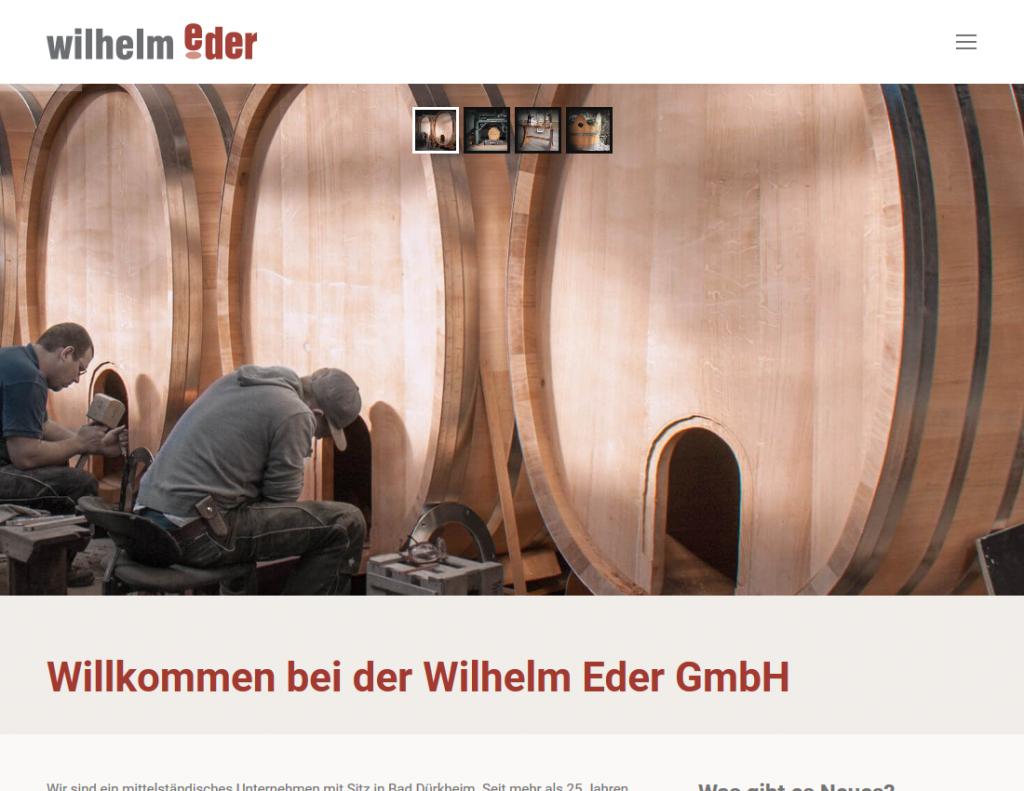 Responsive Internet Auftritt für Wilhelm Eder GmbH – Startseite