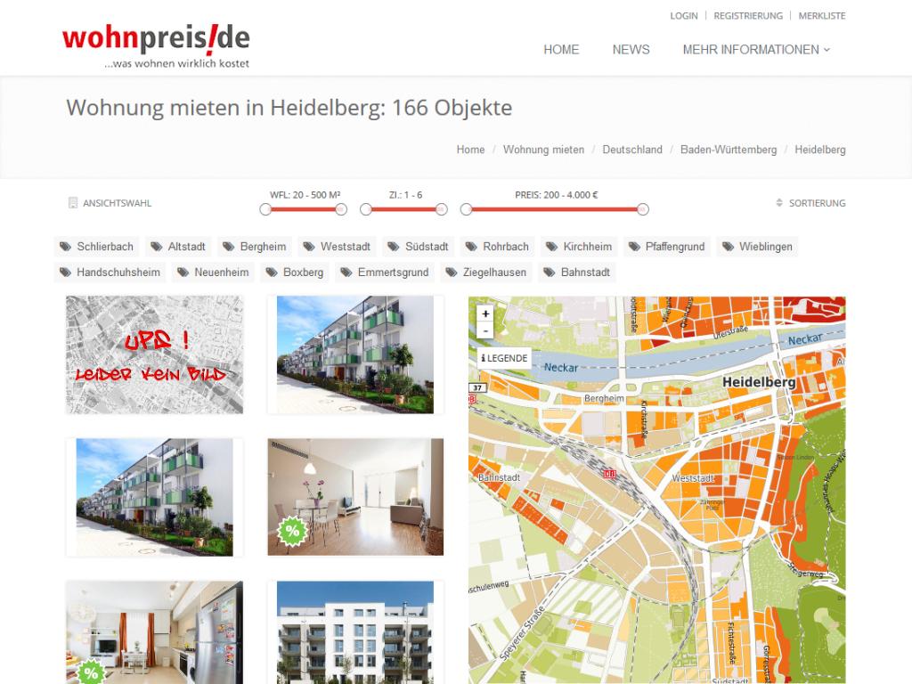 TYPO3 Modulprogrammierung für wohnpreis.de – IIB, Schwetzingen – Mietobjekte Heidelberg