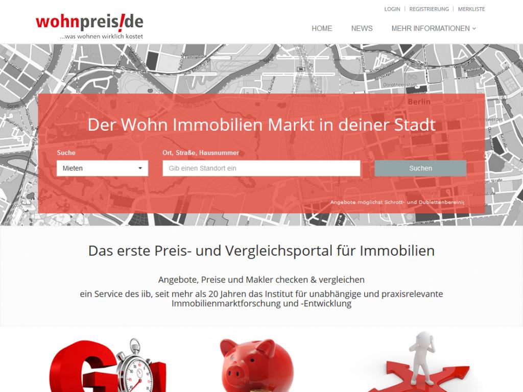 TYPO3 Modulprogrammierung für wohnpreis.de – IIB, Schwetzingen – Startseite